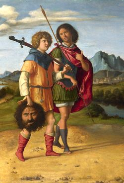 Jonathan gives David the thumbs up as they take Goliath's head for a walk, c.1505-10 by Giovanni Battista Cima Da Conegliano
