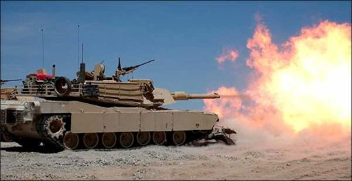 The M1A1 Abrams shows its 120mm M256 firepower.