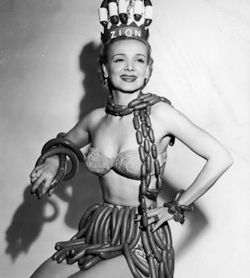 Geene Courtney, Sausage Queen. Sponsored by the Zion Meat Company during National Hot Dog Week, 1955.