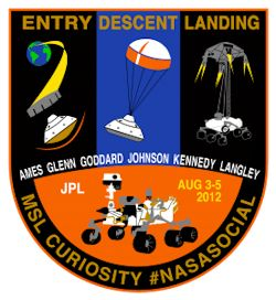 The NASA Social Curiosity Mission Patch, designed by Susan Bell.