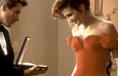 A prostitute retains her dignity by allowing the rich guy she's blowing to buy her lots of expensive clothing in Pretty Woman (1990).